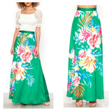 Green Satin A-Line Floral Print Midi Skirt with Banded Waist