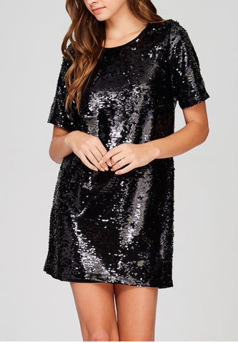 Black Short Sleeve Sequin Shift Dress with Back Zip