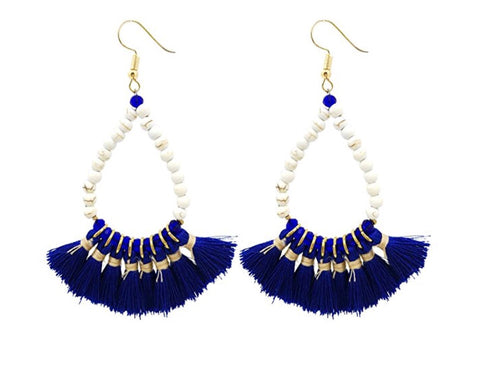 Royal Blue Teardrop Tassel Fringe Earrings with White Beads