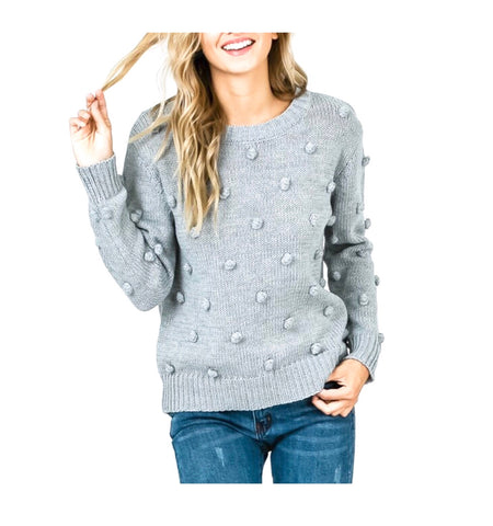 Grey Soft Crewneck Knit Sweater with Knitted Pom Pom Detail