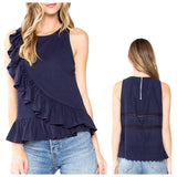 Navy Sleeveless Top with Cascading Ruffle Hem + Contrast Eyelet Back