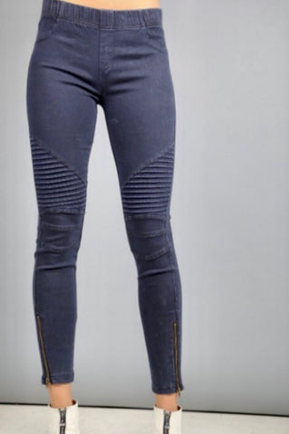 Stretchy Side Zip Moto Leggings, Navy