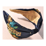 Black Gold Turquoise & Green Embroidered Tropical Leopard Headband with Beaded Star Accents