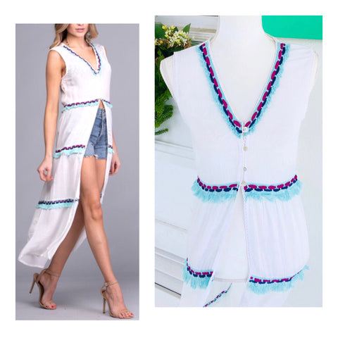 White Sleeveless Button Down Embroidered Kaftan Dress or Coverup with Turquoise Fringe Hem