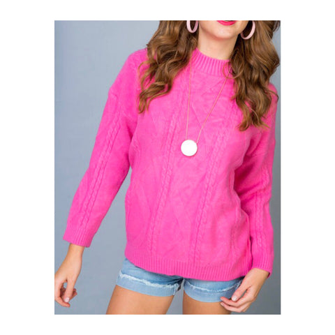 Electric Pink Knit Mock Neck Sweater with Cable & Swirl Design
