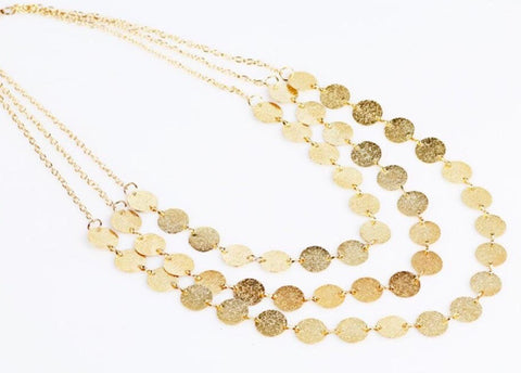 Triple Strand Gold Disc Necklace