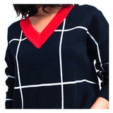Navy or Black & White Windowpane Sweater with Red Contrast Hem