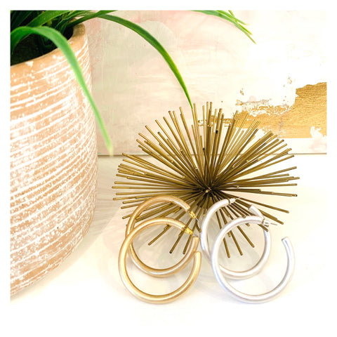 "Brushed Gold or Silver 2.25"" Everyday Hoops"