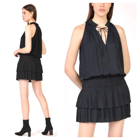 Black Sleeveless Smocked Waist Pleated Dress with Optional Tassel Tie