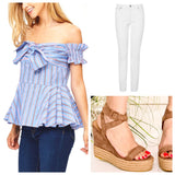 Blue Stripe Off the Shoulder Peplum Top with Bow Front