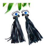 Genuine Leather Fringe Eye Earrings