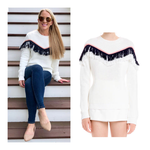 White Navy & Baby Pink Zig Zag Fringe Knit Sweater