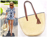 Straw Tote with Faux Leather Tassel & Blue White Nautical Stripe Contrast Straps