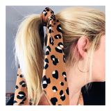 Camel Leopard Print Neck, Purse or Hair Scarf Tie