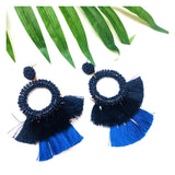 Beaded Circle Earrings with Tiered Contrast Tassels