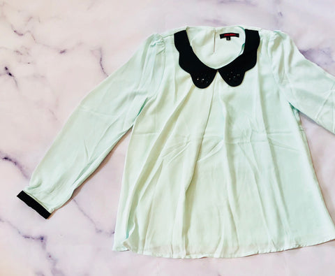 Embellished Peter Pan Collar Chiffon Blouse