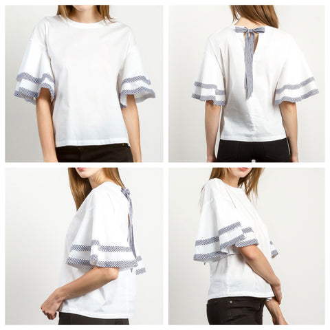 White Bell Sleeve Top with Blue and White Ribbon Trim and Keyhole Back