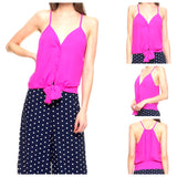 Bright Magenta Button Down Cami with Waist Tie