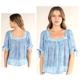 Baby Blue & White Bow Sleeve Button Down Square Neck Blouse