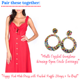 Multi Crystal Gemstone Waning Open Circle Earrings