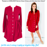 Raspberry CORDUROY Button Down Dress with Banded Hem Detail