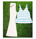 Aqua White Stripe Peplum Top with Shoulder Bow Detail