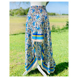 Pink & Marigold OR Blue & Yellow Smocked Waist High Low Maxi Skirt