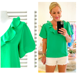 Bright Kelly Green Puff Sleeve Ruffle Top