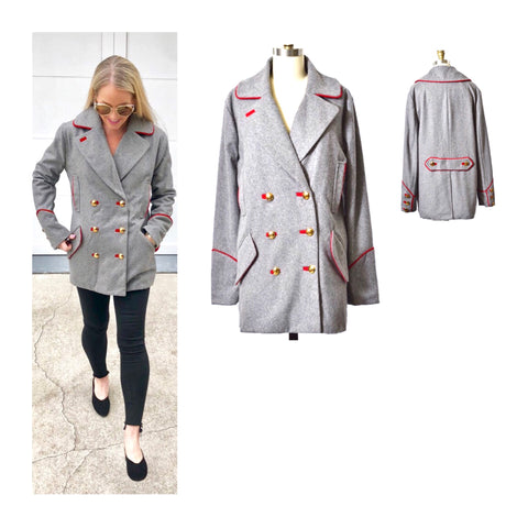 Grey Double Breasted Pea Coat with Red Embroidered Trim