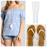 Chambray Off the Shoulder Embroidered Top with Tassel Tie