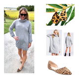 Grey French Terry Long Sleeve Dress with Cowl Neck & POCKETS