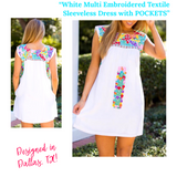 White Multi Embroidered Textile Sleeveless Shift Dress with POCKETS