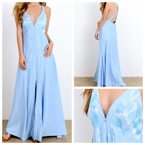 Baby Blue Embroidered Maxi Dress with Criss Cross Open Back