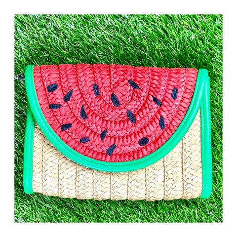 Straw Watermelon Clutch with Detachable Wrist Strap