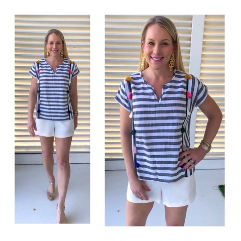 Light Grey & White Contrast Stripe Top with Multicolor Tassels