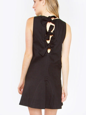 Black Sleeveless BOW Shift Dress with Subtle Ruffle Hem