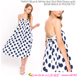 NAVY Blue & White Ikat Dot Midi Dress with BOW BACK & POCKETS