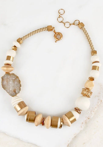 Mixed Metal and Wood Statement Necklace with Gold and Rope Detail and Electroplated Druzy Stone Accent