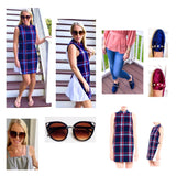 Navy Plaid Tweed Shirttail Back A-Line Shift Dress with Self Tie Belt