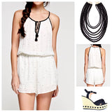 Off White and Black Snail Print Romper with Tassel Ties