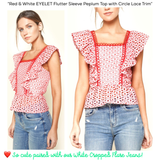 Red & White EYELET Flutter Sleeve Peplum Top with Circle Lace Trim