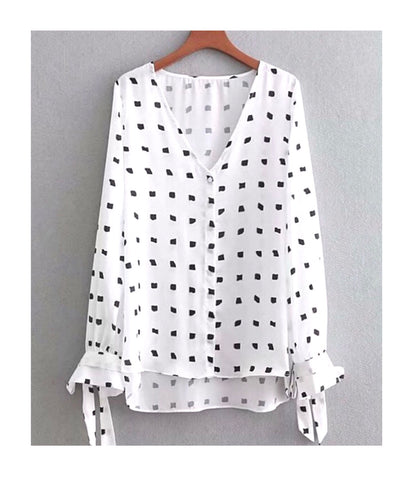 White Button Down Tie Sleeve Top with Black Spots