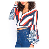 Red Ivory & Blue Wide Stripe Bishop Sleeve Top