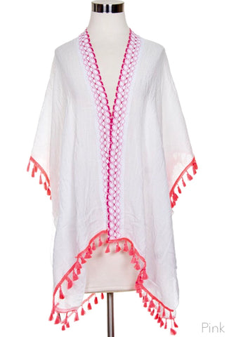 Pink & White Caftan Coverup