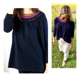 Navy Sweater with Bright Pink Blue & Green Peekaboo Round Neckline