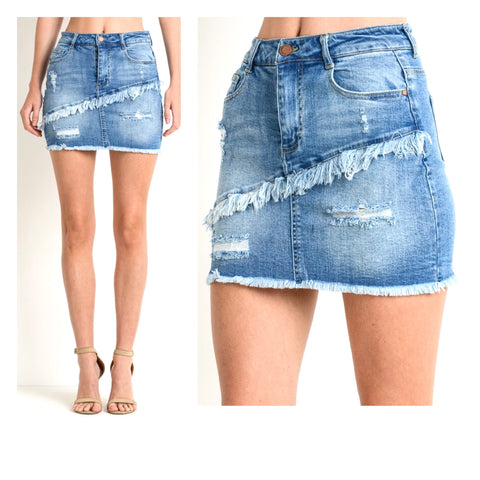 Denim Diagonally Frayed Skirt