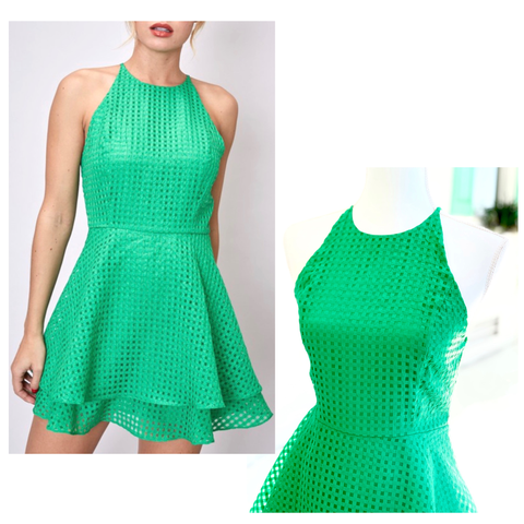 Kelly Green Lattice Fit & Flare Skater Dress