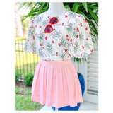 Ivory, Seafoam Green, Blush Pink & Bright Red with Lavender Grey Accent Puff Sleeve Top with Cutout Detail & Keyhole Back
