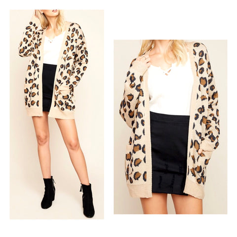 Light Camel Leopard Print Oversized Cardigan with Pockets