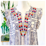 Ivory & Blue Flutter Sleeve Woven Top with Rainbow EMBROIDERY & White Sleeve Trim